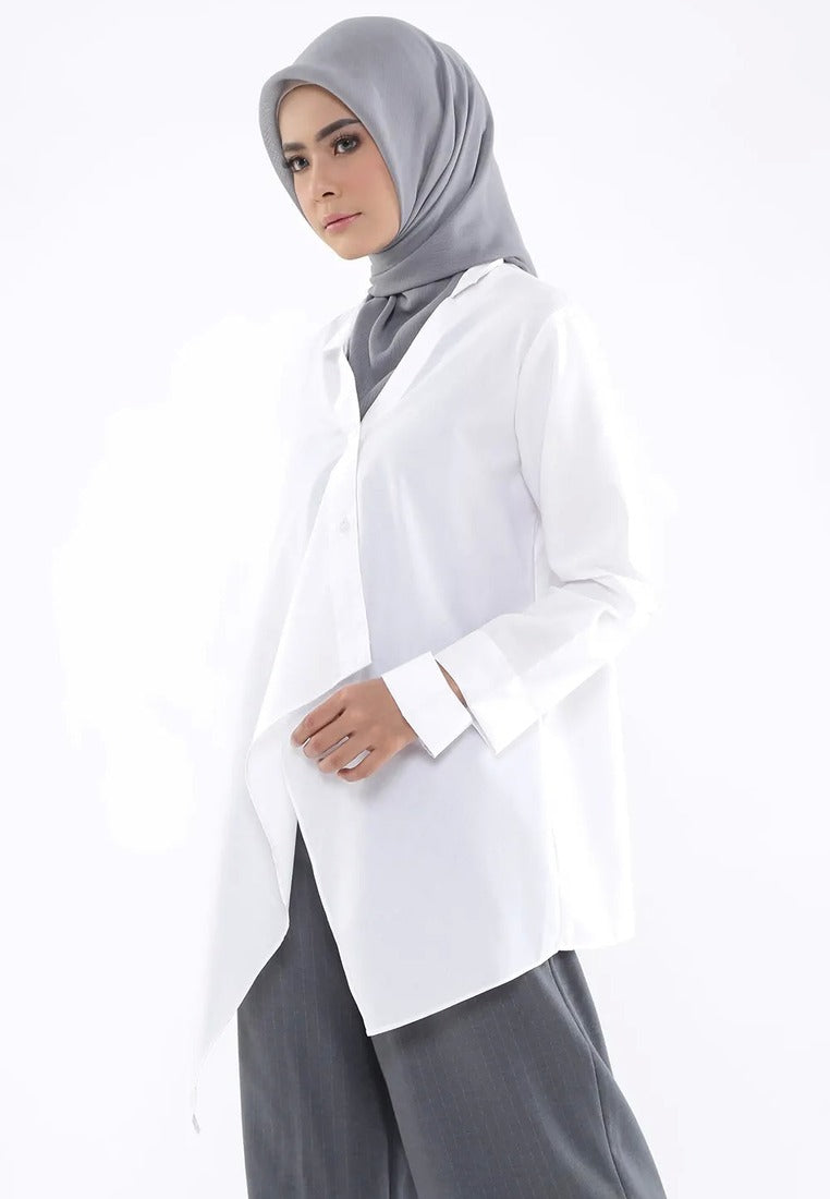 Asymmetrical Double Sleeves Shirt - White
