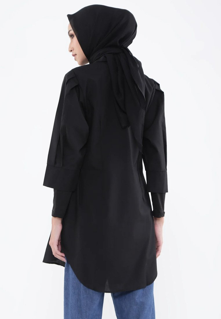 Puffy Sleeves Shirt Dress - Black