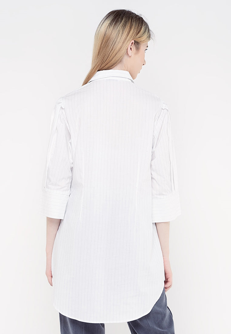Puffy Sleeves Shirt Dress - Stripe White