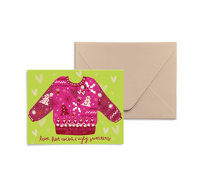 Ugly Sweaters, Love, + Hot Cocoa Card