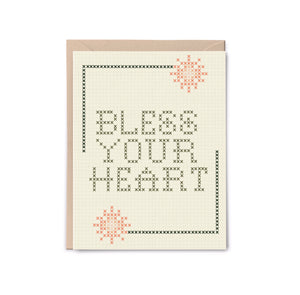 Bless Your Heart Cross Stitch Card