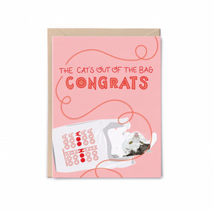 Cat's out of the Bag - Congrats Card