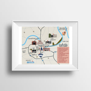 Nashville Music Venues Map Print