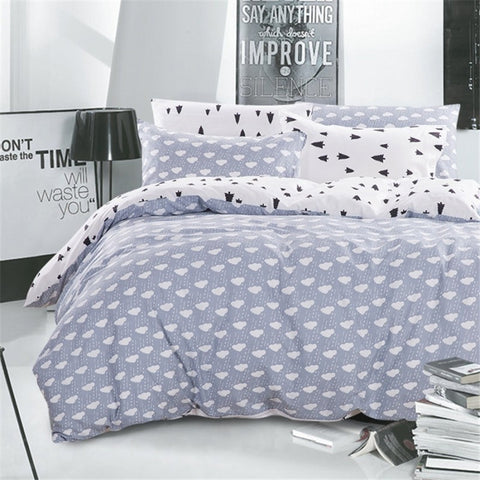 Trees and Clouds Bedding Set (White/Lavender) | 99sheets