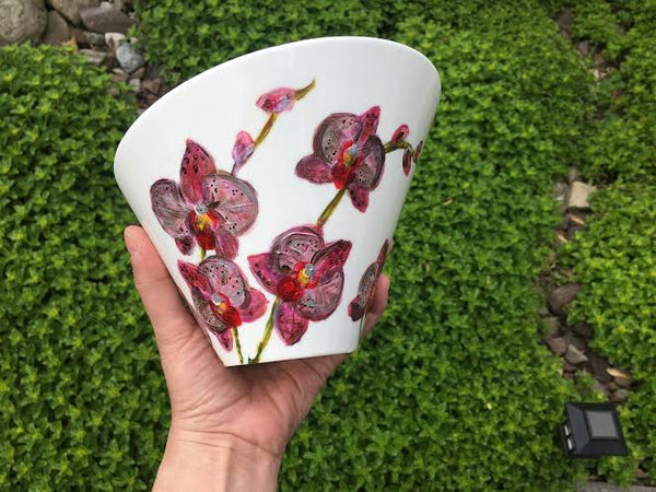 Large Hand-Painted Porcelain Flower Bowls