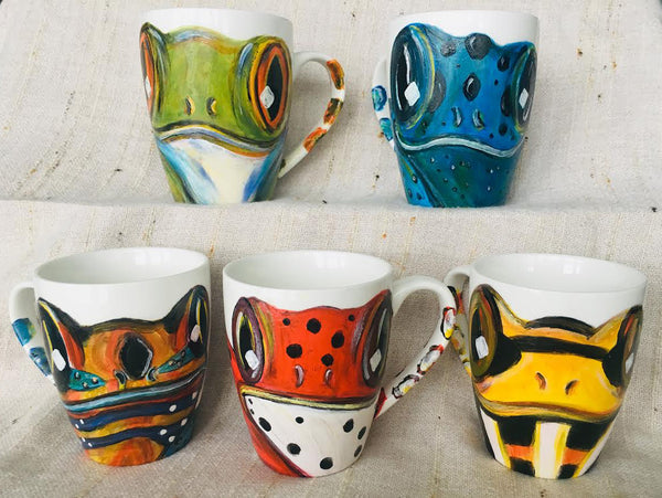 Hand-Painted Frog Mugs!