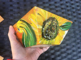 BAMBOO SALAD BOWLS, HAND-PAINTED Autumn Design