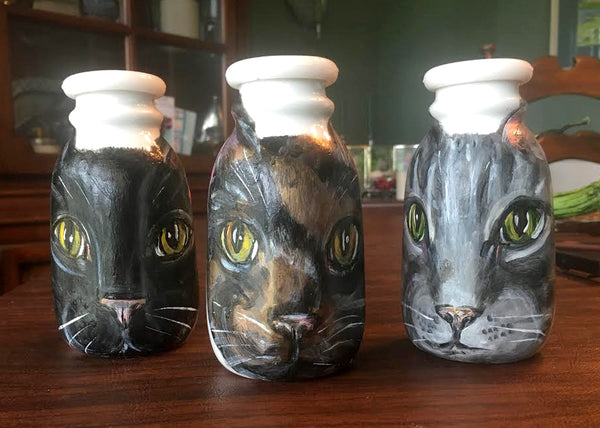 Kitty Milk Bottles - Hand-Painted Porcelain