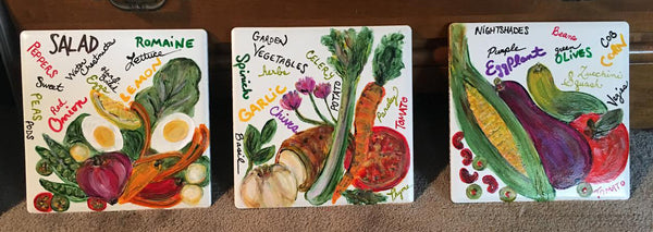 Food Tiles, Hot plates, Trivets, Hand-Painted, Porcelain: Custom and Original
