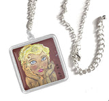 "SILVER Necklaces: Original Pastel ""ART-DECO"" Inspired Art Necklaces"