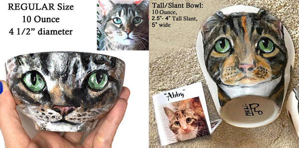 Custom Kitty Art Bowls: 2 Sizes... Hand-painted Porcelain, Personalized Cat