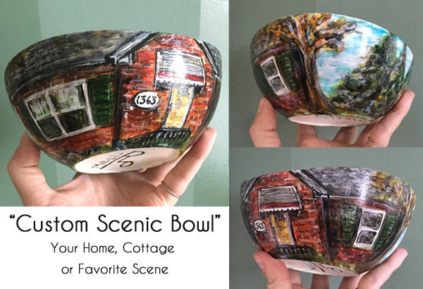 "Hand-Painted ""Scenic"" Porcelain Bowls"