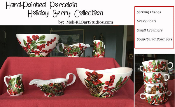 Hand-Painted Porcelain Holly Berry Collection