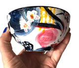 """Spring Geisha"" : Original Hand-Painted Porcelain Art Bowl, Decor"