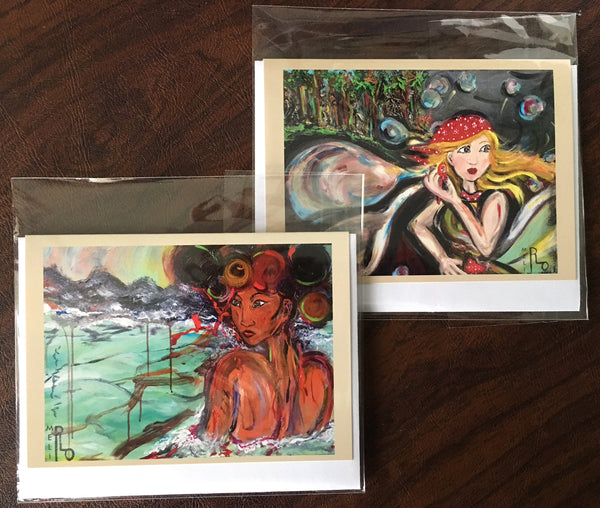 Meli's Original Art Studio NOTE CARDS: SET of 2