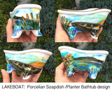 Hand-painted Porcelain mini claw-foot Bathtub SOAP DISH, PLANTER, Country accessories