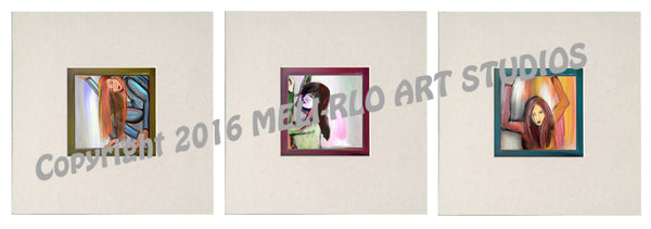 "Matted Prints : ""Boxed Girls"" SET of 3"