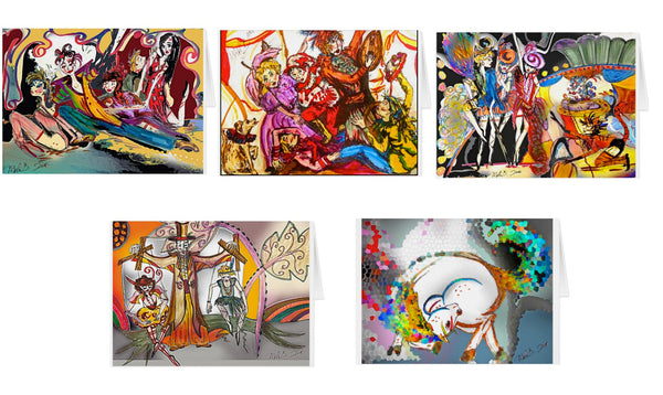 "'Renaissance Cirque' - 5"" x 7"" GREETING CARD SET of 5"