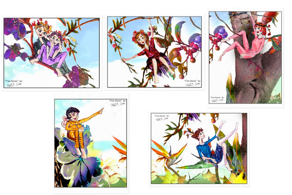 """TREE FAIRIES"" -  POSTCARD SET of 5"