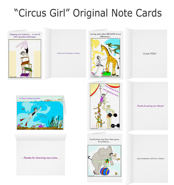 """Circus Girl"" -  NOTE CARD SET of 5"