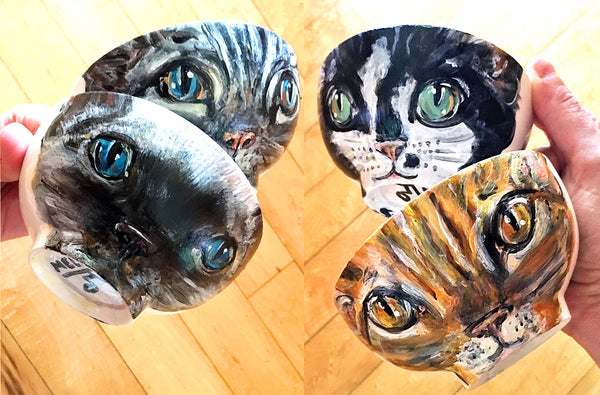 Custom Kitty Art Bowl: Hand-painted Porcelain Decorative Art Bowl, Personalized Cat