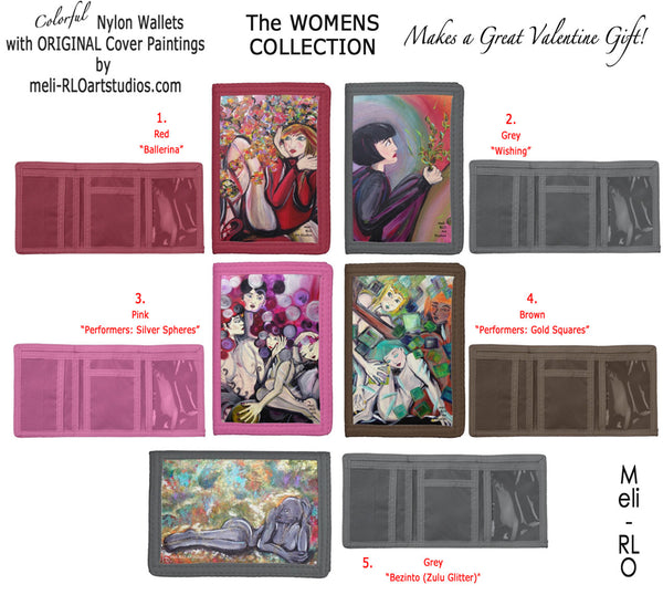 Colorful Nylon Wallets with Original Unique Paintings on Covers, Women