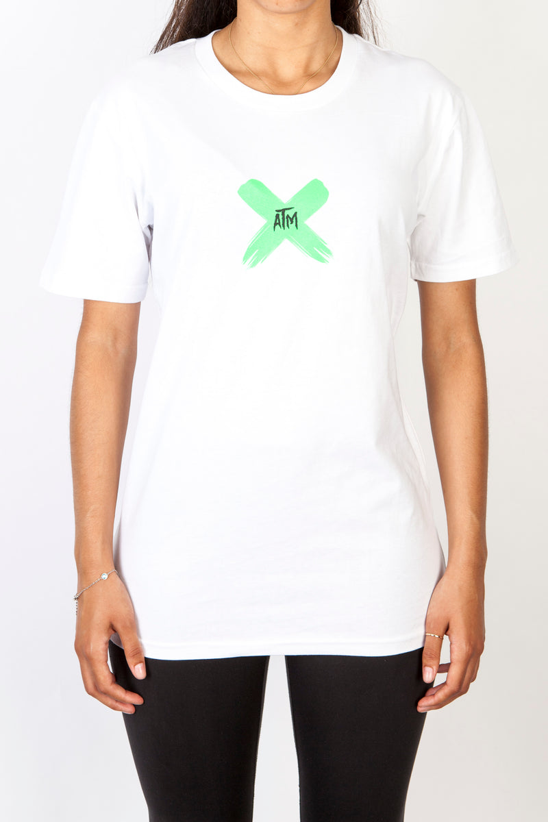 ATM Lime X on White T-Shirt