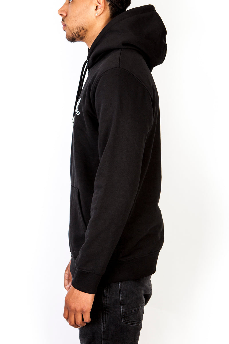 #NeverMe White on Black Hoodie