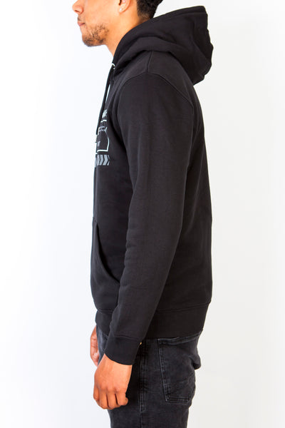 ATM Grey Stamp on Black Hoodie