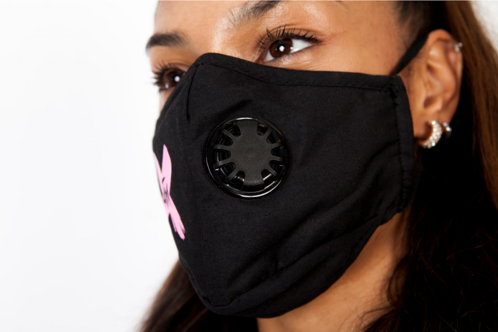 ATM Pink X on Black Face Mask