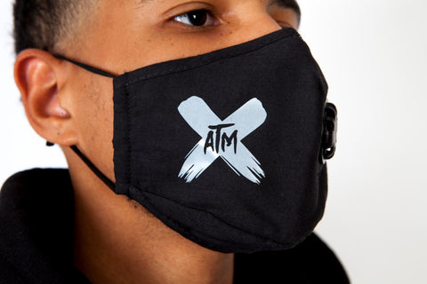 ATM Grey X on Black Face Mask