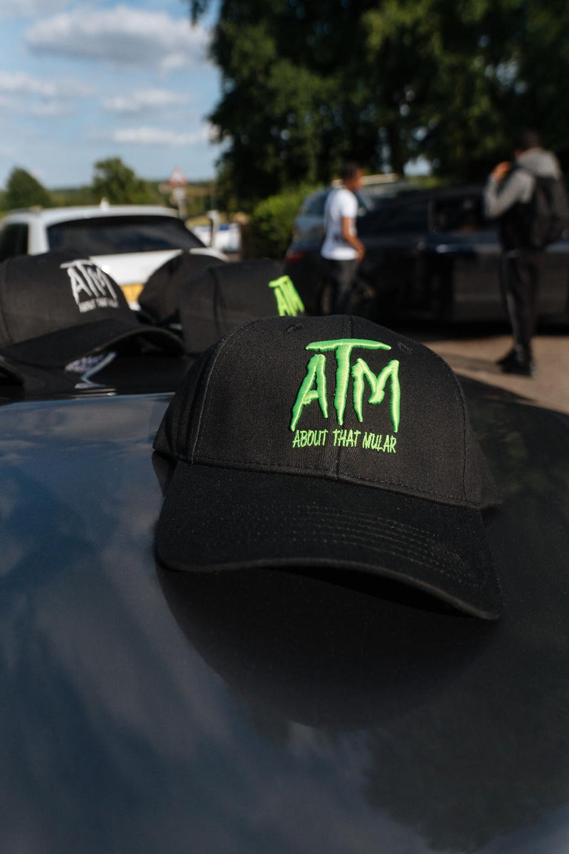 ATM Lime (Logo & Text) on Black Cap