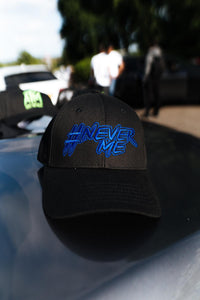 #NeverMe Blue on Black Cap