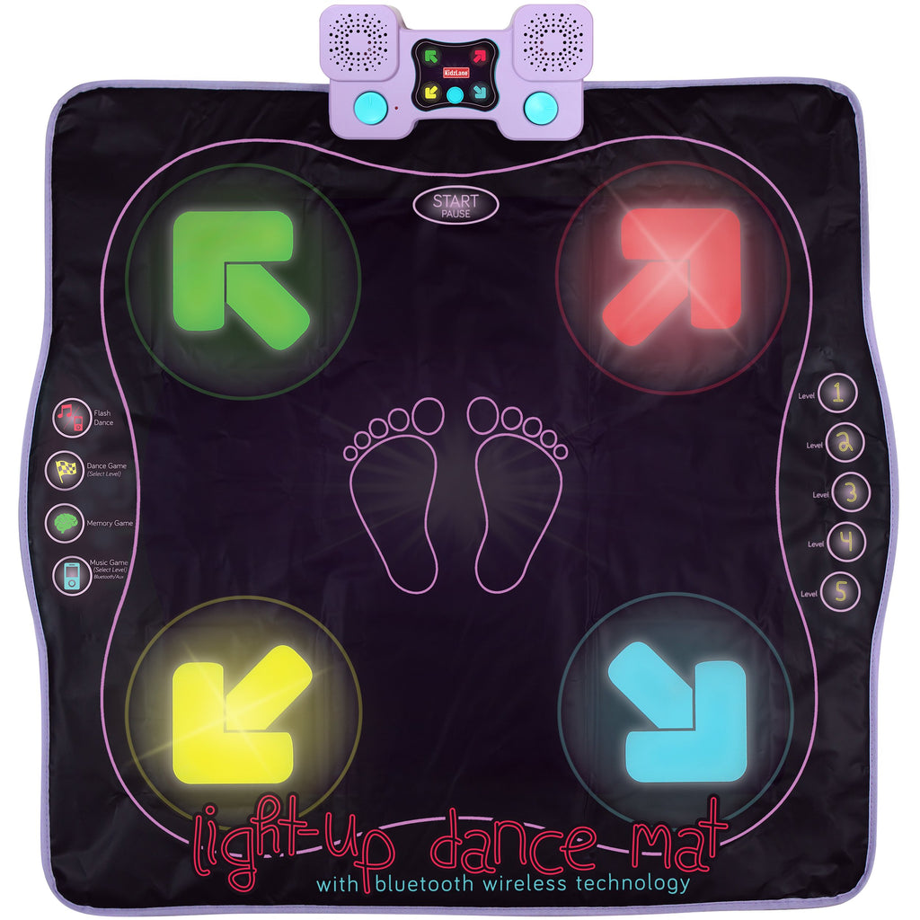 Kidzlane Light Up Dance Mat - Arcade Style Dance Games with Built in Music Tracks and Bluetooth Wireless Technology - Kidzlane