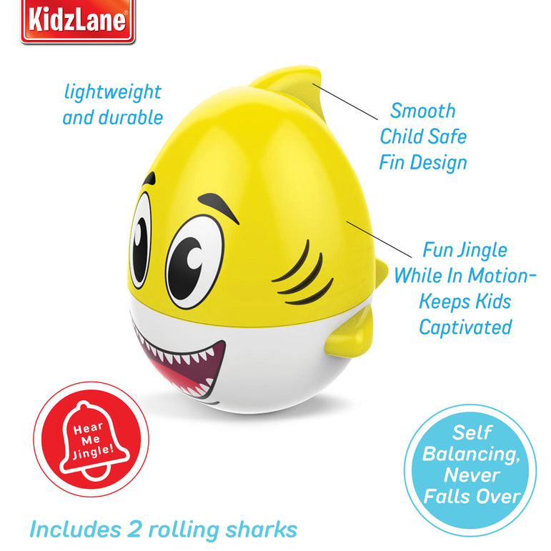 Kidzlane Rolling Shark Baby Bath Toys - 2 Pack Pink and Yellow – Self Balancing Effect, Floats in Water for Bathtime Fun – Shark Water Toys for Baby Ages 18 Months+