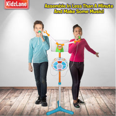Stage Mic Sing Off Kids Music Player with Two Mics, Bluetooth and Aux Connectivity, LED Lights, and Sound Effects - Kidzlane