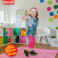 Kidzlane Kids Karaoke Microphone with Bluetooth, Voice Changer, and 10 Built-in Nursery Rhymes - Kidzlane