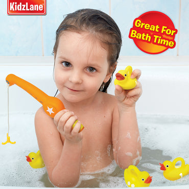Duck Fishing Game - 1 Toy Fishing Pole - 6 Rubber Duckies