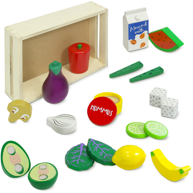 Wooden Vegan Food Set