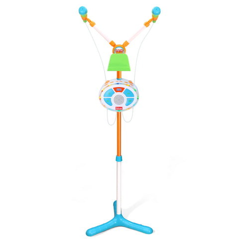 Stage Mic Sing Off Kids Music Player with Two Mics, Bluetooth and Aux Connectivity, LED Lights, and Sound Effects