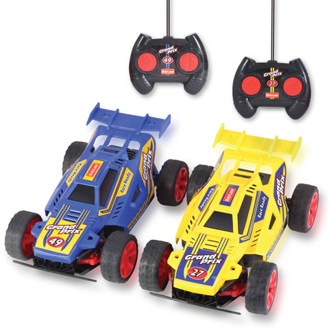 Kidzlane Grand Prix Racing Cars, Set of Two - Easy to Control and Race Together with All-Direction Drive and 35 Foot Range