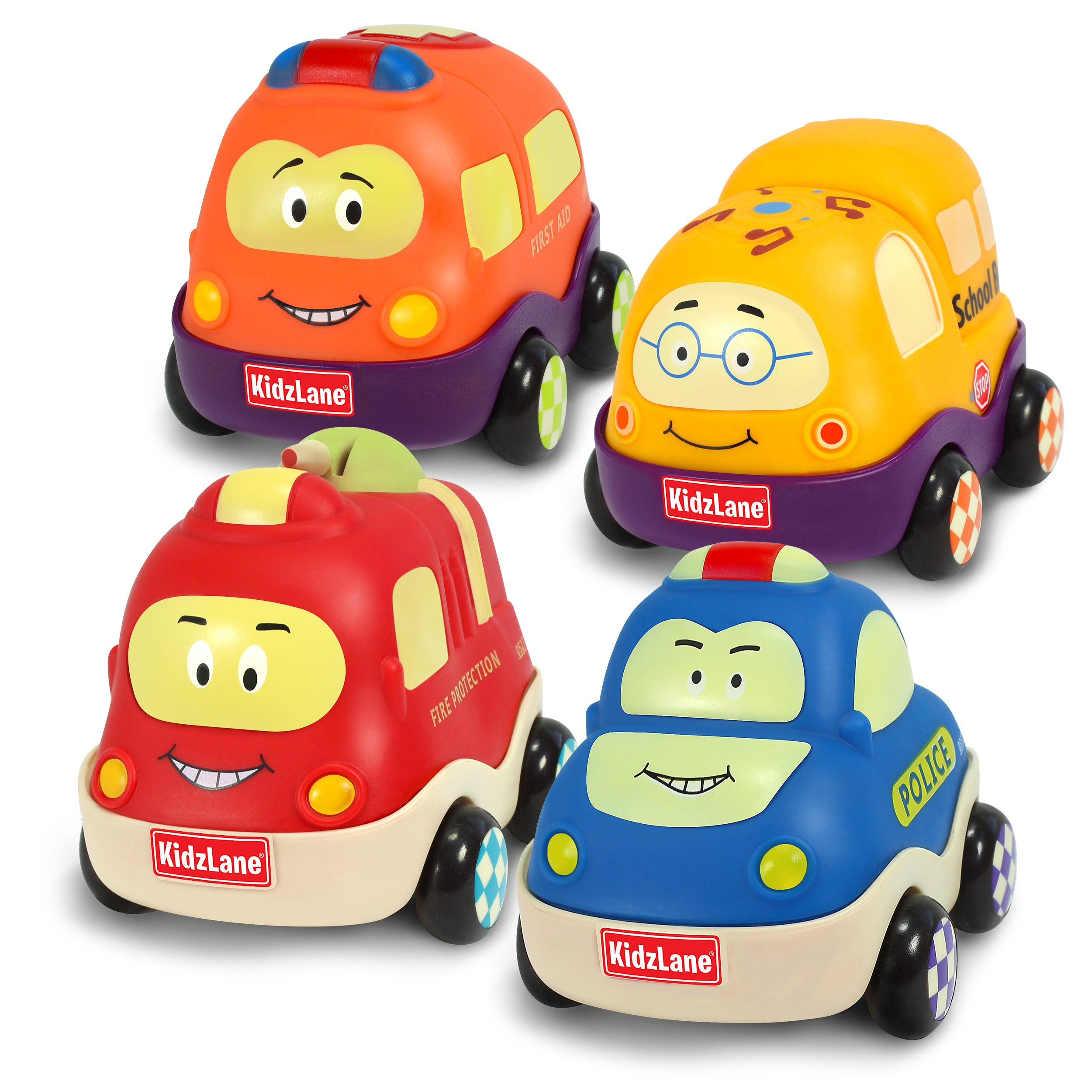 Pull Back Cars - Set of 4 Town Vehicles