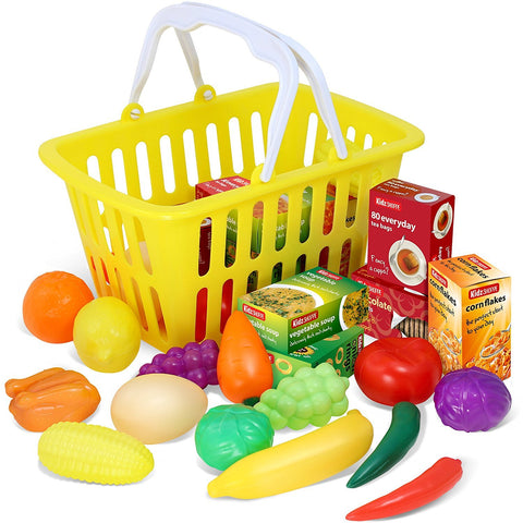 Play Food - 28 Piece Pretend Play Foods in Basket