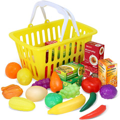 Play Food - 28 Piece Pretend Play Foods in Basket - Kidzlane