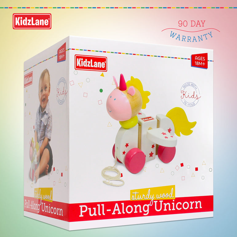 Wooden Unicorn Pull Toy - Kidzlane