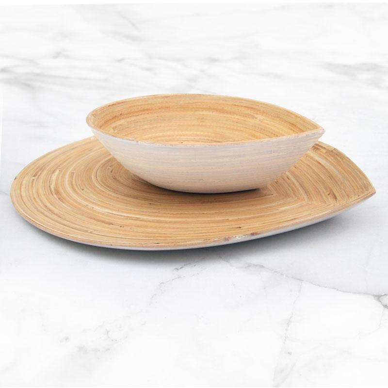 Bamboo Leaf Bowl and Tray Set