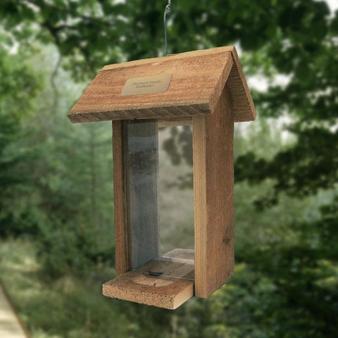 Personalized Tall Cedar Bird Feeder