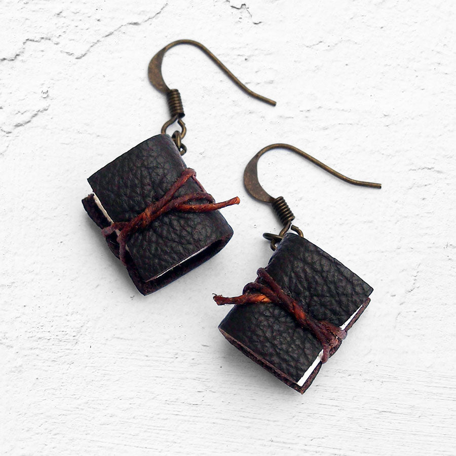 Handmade Tiny Leather Journal Earrings