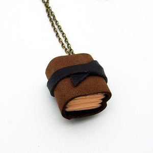 Handmade Tiny Leather Journal Necklace