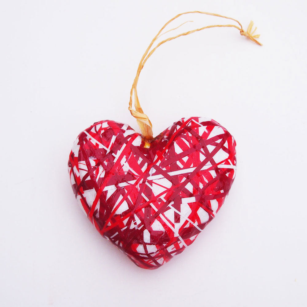 Magazine Wrapped Heart Ornament